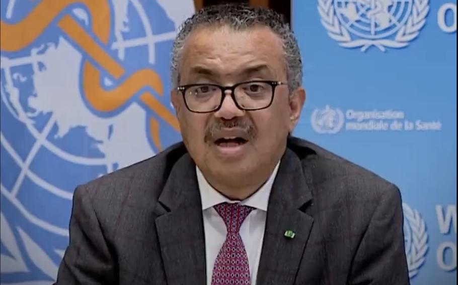 Screenshot from video depciting WHO Director-General Tedros Adhanom Ghebreyesus.