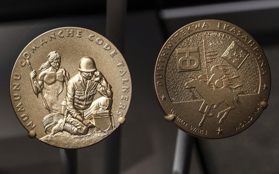Congressional Gold Medals honoring Comanche Code Talkers, on display at the National Museum of the United States Army on its reopening day, June 14, 2021.