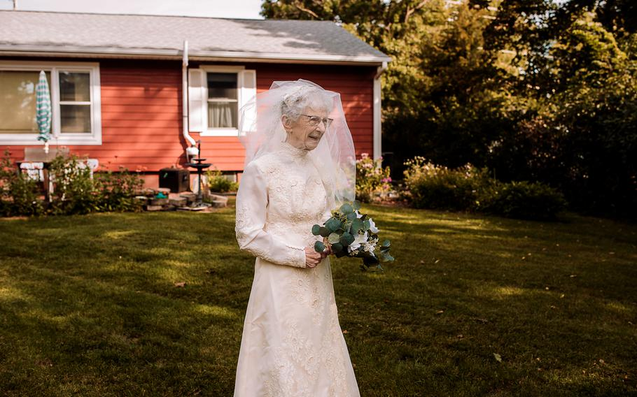 Frankie King, 97, was not able to have a photographer for her first wedding in 1944.