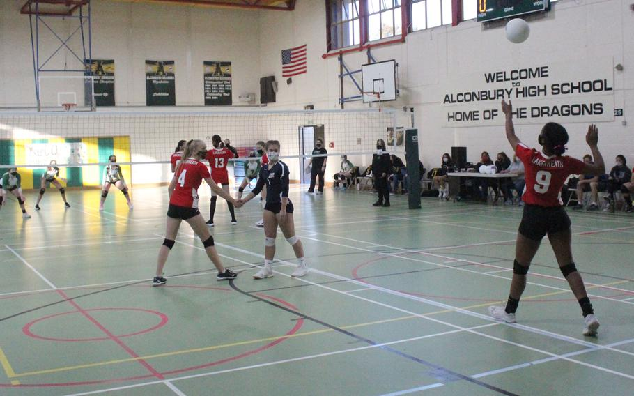 The Lakenheath Lancers girls volleyball team faced off with the Alconbury Dragons on Friday, Oct. 1, 2021 at Alconbury High School. Lauryn Hanner had eight serving attempts and six aces against the Dragons.
