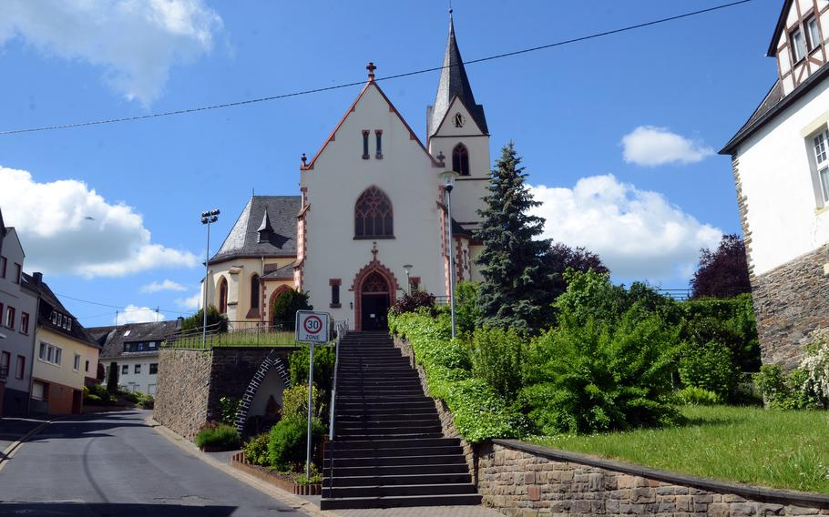 An 18th century church in the town of Bad Salzig, Germany, June 5, 2021. The RheinBurgenWeg, or Rhine Castles Trail, can be picked up in the town on the left side of the storied river.