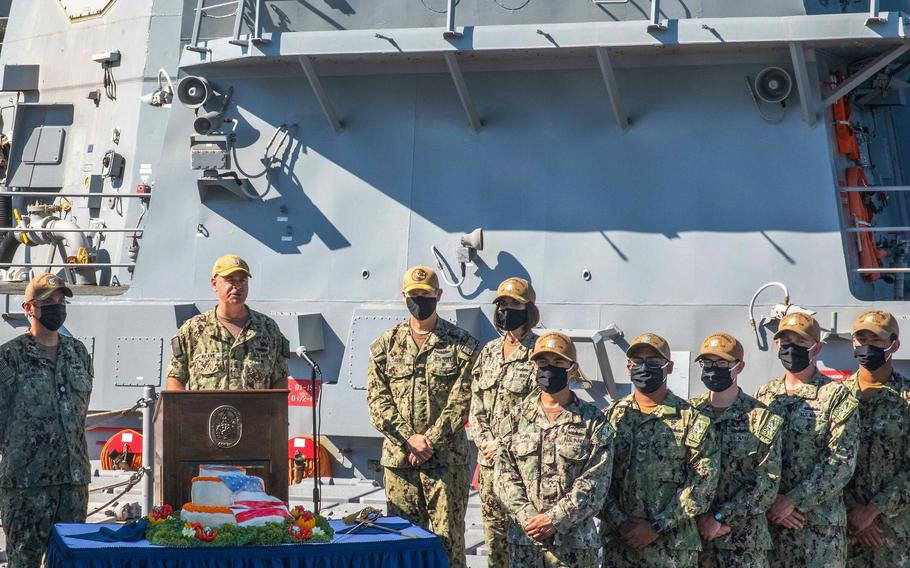 Rear Adm. Brendan McLane, commander of Naval Surface Force Atlantic, introduces the Task Group Greyhound Initiative aboard the USS Thomas Hudner at Naval Station Mayport.