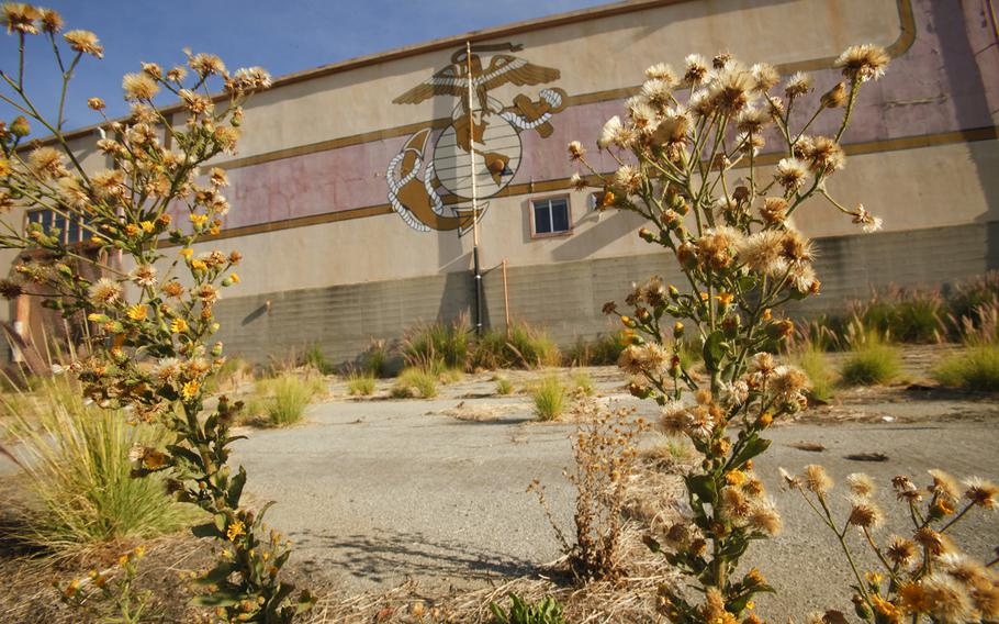 Weeds grow at the old El Toro Marine Base in Irvine in 2012. The eagle, globe and anchor insignia of the Marine Corps are still visible on some of the buildings.