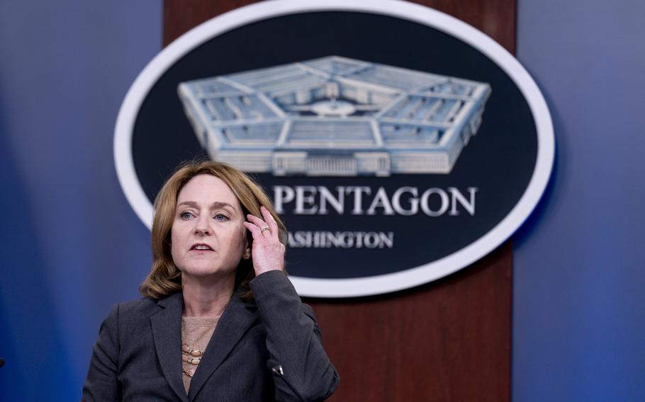 Deputy Defense Secretary Kathleen Hicks speaks during a briefing at the Pentagon on Wednesday, Sept. 22, 2021, to announce the Defense Department will act upon the 90-day commission recommendations on sexual assault and harassment in the military.