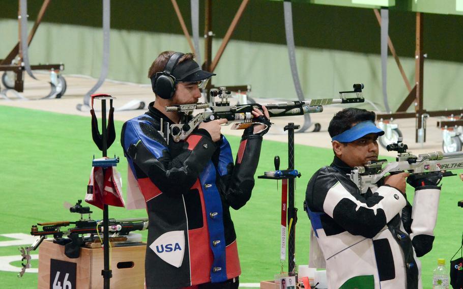 Lucas Kozeniesky shoots for Team USA in a Tokyo Olympics 10-meter air rifle event at Asaka Shooting Range at Camp Asaka, Japan, Saturday, July 24, 2021.