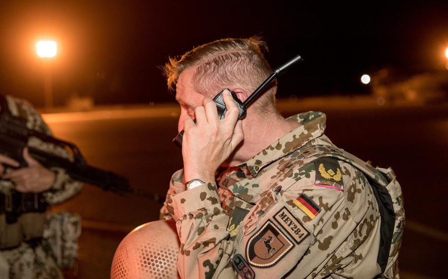 The commander of German forces in Afghanistan, Brig. Gen. Ansgar Meyer, leaves Camp Marma in Mazar-e-Sharif, with the last Airbus A400M flying out, June 29, 2021.