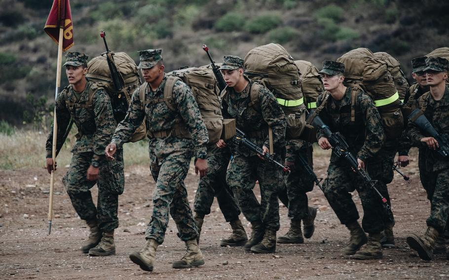 Marine Corps recruits with Lima Company, 3rd Recruit Training Battalion, complete the final hike of the Crucible at Camp Pendleton, Calif., April 22, 2021. Marine recruit Pfc. Dalton Beals, of Echo Company, died June 4 during the Crucible, a Parris Island Recruit Depot statement said. The cause of death is under investigation.