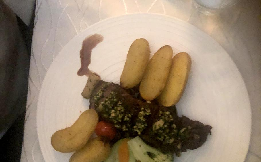 New Zealand lamb served with potatoes and vegetables at Julien, a French restaurant in Kaiserslautern, Germany.