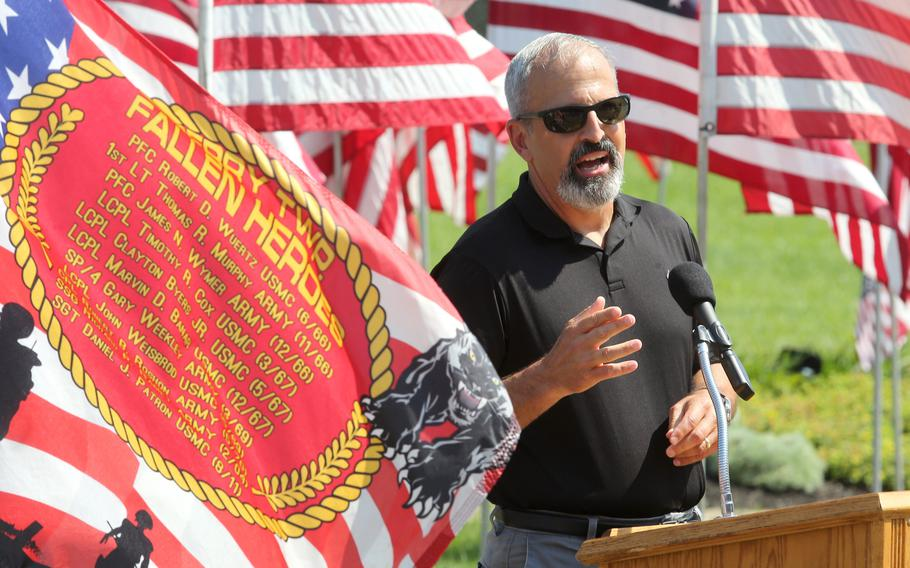 Retired Lt. Gen. Michael Dana makes remarks during a 10th anniversary memorial service for Marines Sgt. Daniel Patron in Perry Township on Saturday, Aug. 21, 2021. Patron died Aug. 6, 2011, while defusing a roadside bomb while serving in Afghanistan.