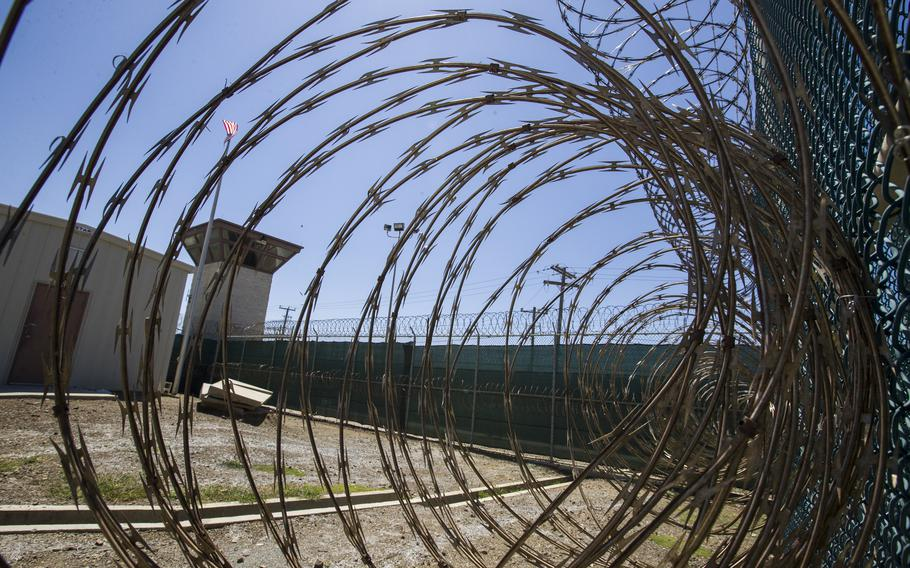 The control tower is seen through the razor wire inside the Camp VI detention facility in Guantanamo Bay Naval Base, Cuba, on April 17, 2019.