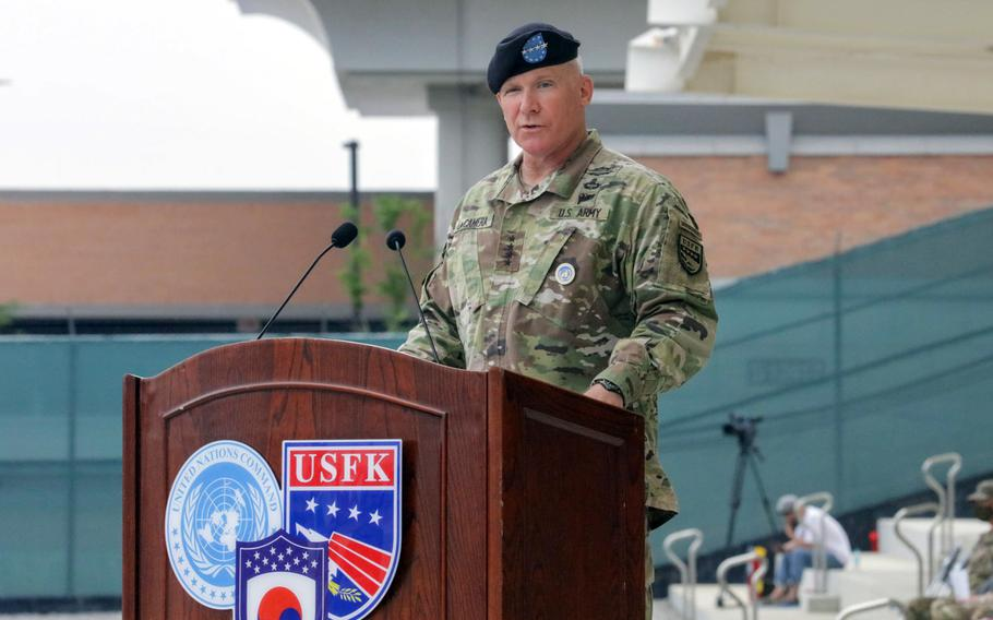 Gen. Paul LaCamera speaks after taking the reins of U.S. Forces Korea from Gen. Robert Abrams at Camp Humphreys, South Korea, Friday, July 2, 2021.
