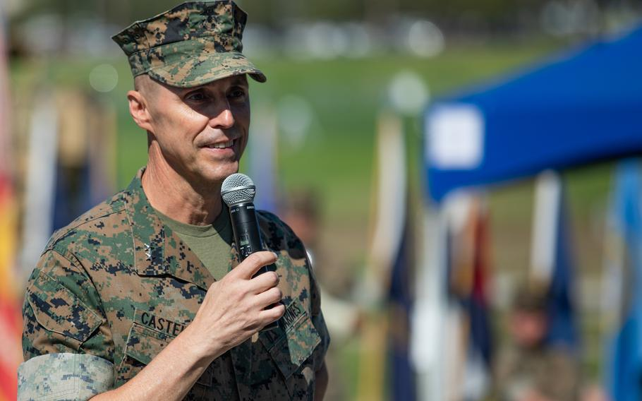 U.S. Marine Corps Maj. Gen. Robert F. Castellvi speaks during a change of command ceremony held at Marine Corps Base Camp Pendleton, California, Sept. 22, 2020. Castellvi, who oversaw the ground combat unit that was involved in the deadly sinking of an amphibious assault vehicle last year, will not return to his position after Marine Commandant Gen. David Berger suspended him May 3 amid an investigation.