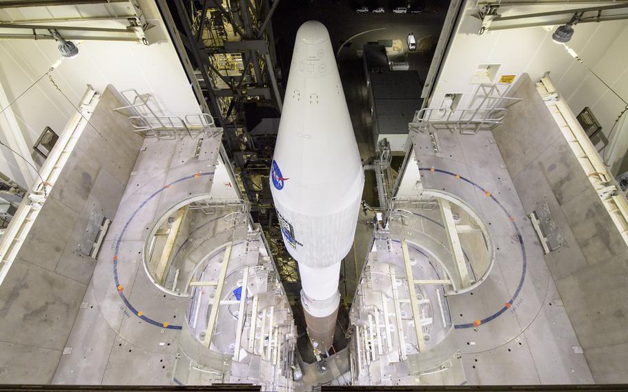 The United Launch Alliance Atlas V rocket with the Landsat 9 satellite onboard at Vandenberg Space Force Base, Calif., on Monday, Sept. 27, 2021.