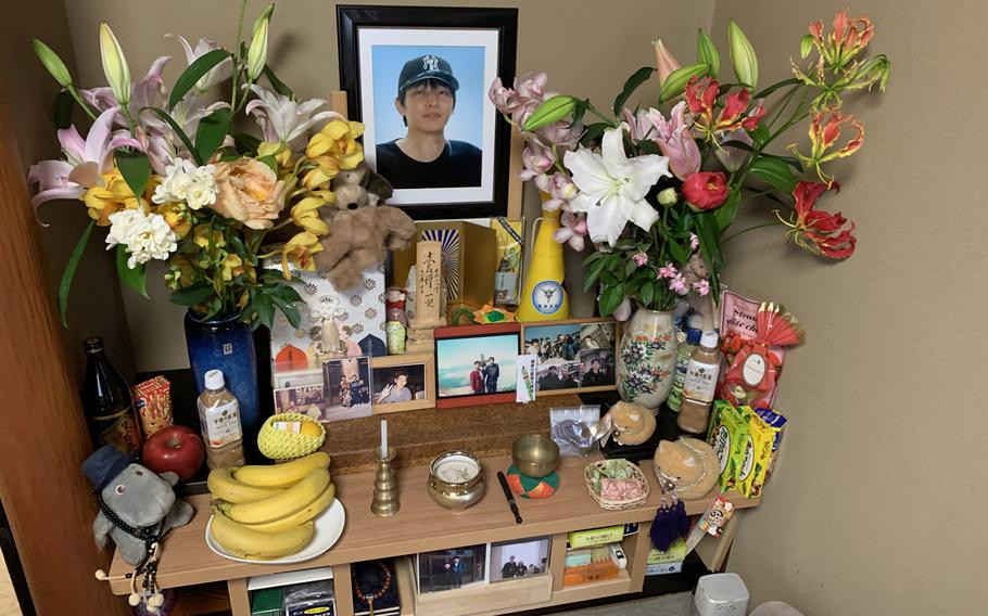 A shrine to Kazuya Ohata at his parents' home in Kanazawa, Japan. He died at age 40 after being physically restrained in a psychiatric institution.