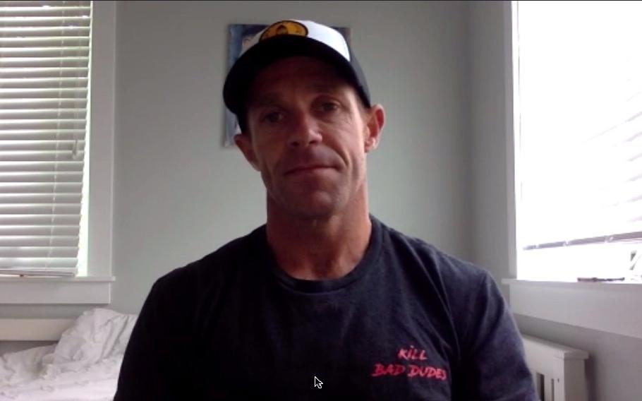 """Former Navy SEAL Eddie Gallagher, 42, speaks to Stars and Stripes via Skype about his new book, """"The Man in the Arena: From Fighting ISIS to Fighting for my Freedom."""""""