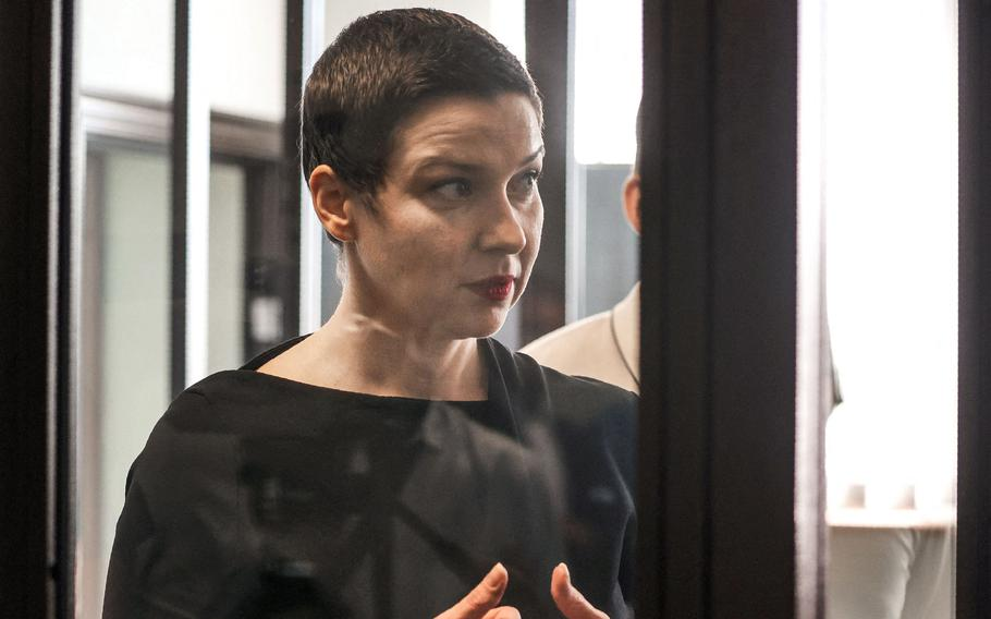 Maria Kolesnikova, the last remaining protest leader still in Belarus, at the opening of her trial on charges of undermining national security, conspiring to seize power and creating an extremist group, in Minsk on Wednesday, Aug. 4, 2021.