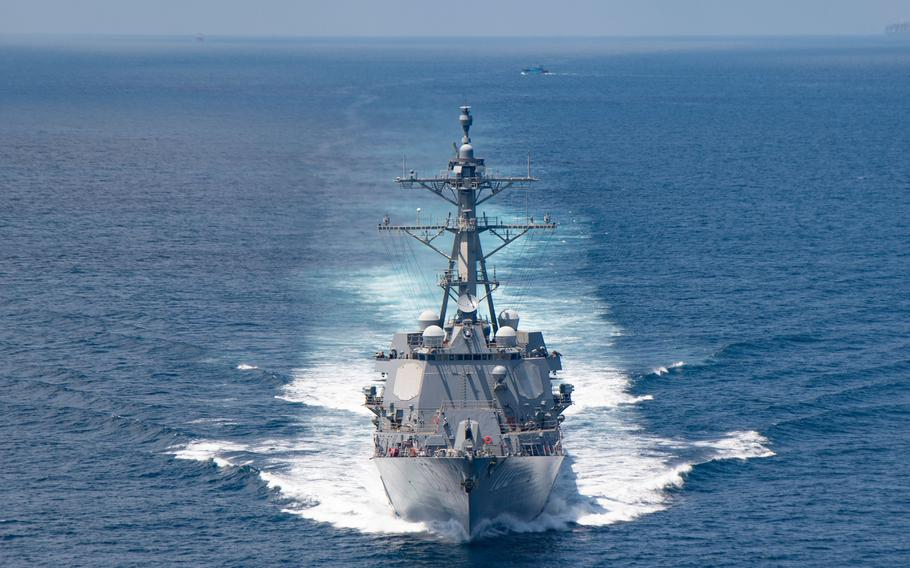 The guided-missile destroyer USS Kidd steams through the Taiwan Strait on Aug. 27, 2021.
