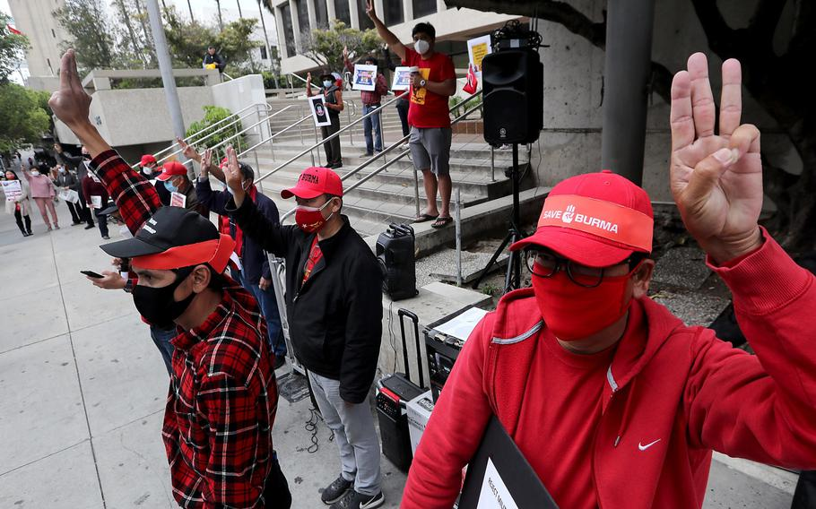 Members of the Burmese American community hold a demonstration outside the Office of the Consulate General of Myanmar in Los Angeles on Saturday, April 24, 2021. Protesters denounced a coup by the military against the elected government of Myanmar, which has been struggling with stability and the reported ethnic cleansing of the country's Muslim minority.