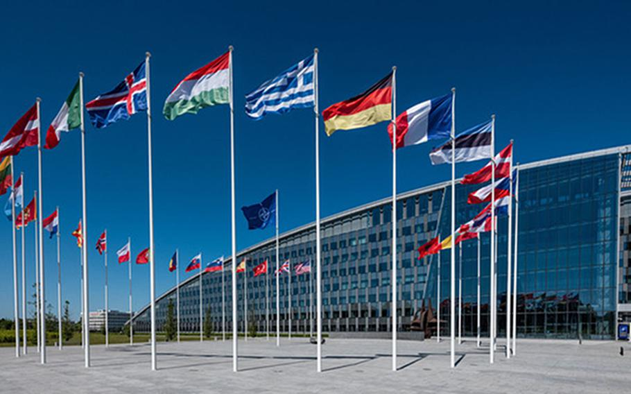 The North Atlantic Treaty Organization's headquarters in Brussels, Belgium. A virtual meeting of foreign and defense ministers from NATOs 30 members discussed stances on Russia, Afghanistan and other issues on June 1, 2021, ahead of a heads of states and governments summit scheduled for June 14.