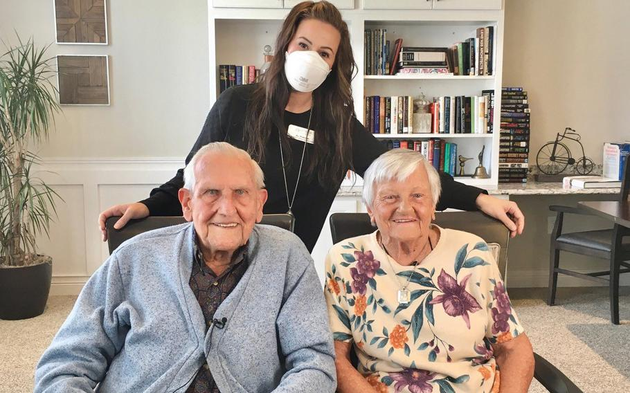 The Grasbergers with Jill Pawloski, the resident services director at Vitalia Senior Residences at Strongsville, who found Dashauna Priest and orchestrated the surprise.