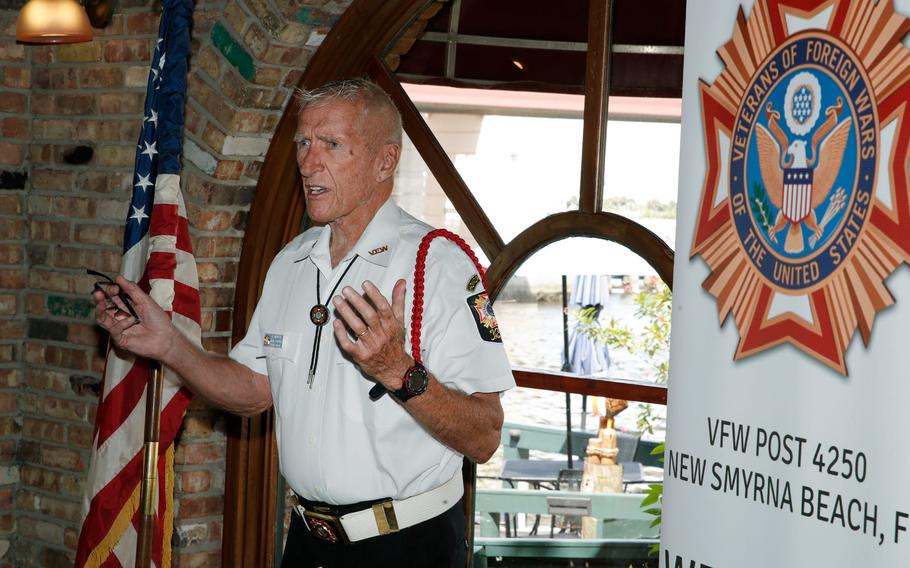 Ken Martin speaks during a gathering of the Gold Star Mothers and Families in New Smyrna Beach, Fla., Sept. 18, 2021.