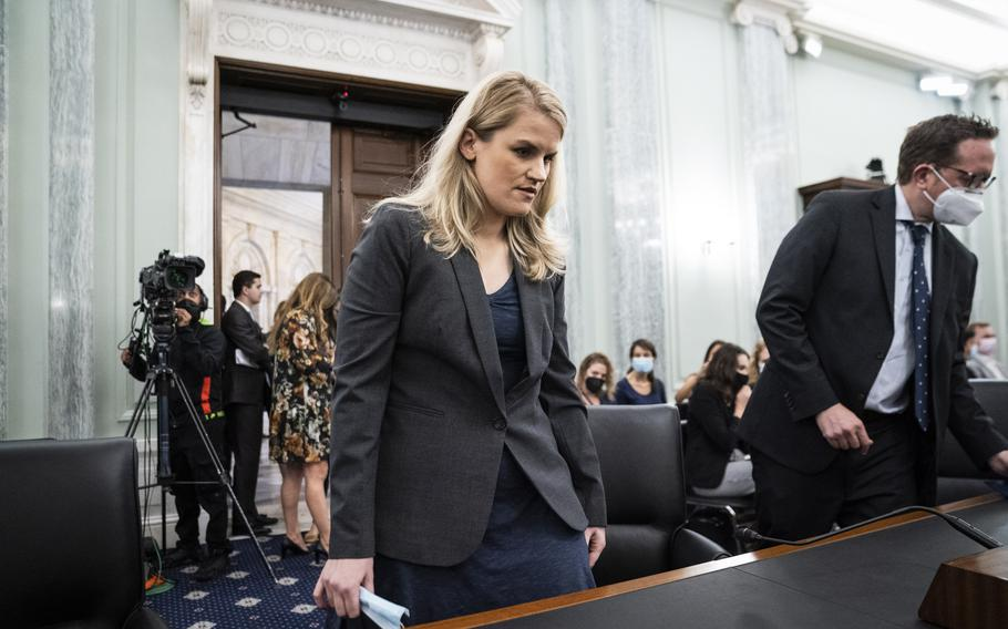 Former Facebook employee and whistleblower Frances Haugen arrives to testify during a Senate Committee on Commerce, Science, and Transportation hearing on Capitol Hill on Tuesday, Oct. 5, 2021, in Washington.