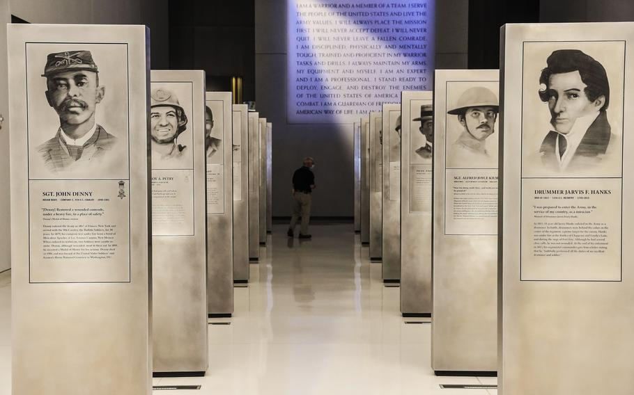 Tne Soldiers' Stories Gallery at the National Museum of the United States Army on its reopening day, June 14, 2021.