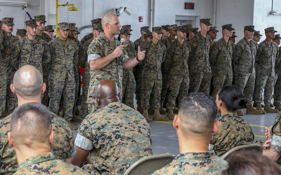 U.S. Marine Corps Lt. Col. Randall White, commanding officer of 2nd Transportation Support Battalion, speaks at a ceremony at  Camp Lejeune, North Carolina, June 3, 2021.
