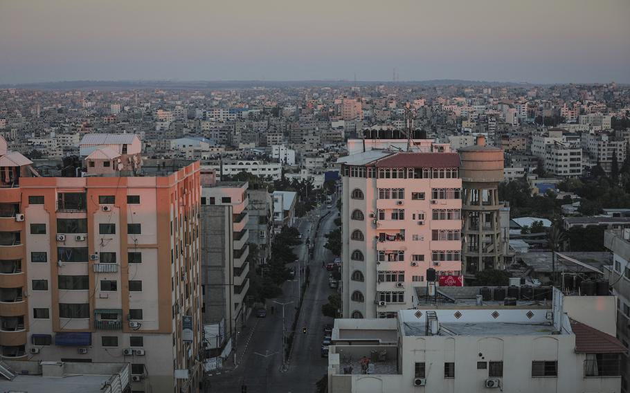 Al-Wehda Street in Gaza City, considered the area's busiest street for traffic, is nearly empty on Aug. 25, 2020, because of the coronavirus lockdown.