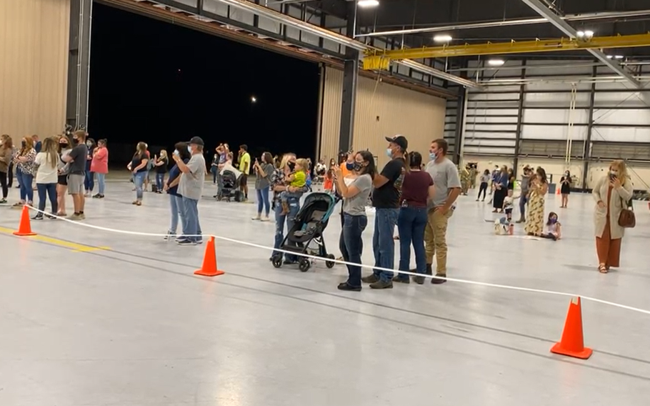 On Sept. 17, 2021, families await the arrival of soldiers withFort Riley's1st Squadron,6th Cavalry Regiment,1st Combat Aviation Brigade after a ninth-month deployment to South Korea.
