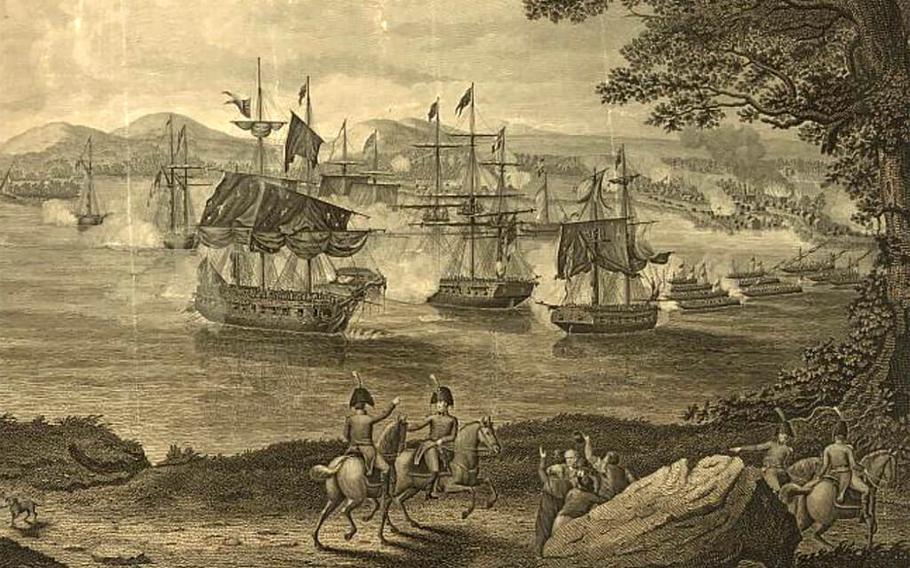 An 1816 engraving shows the naval battle of Plattsburg on Lake Champlain on Sept. 11, 1814, between American and British forces. Among the Americans was a young doctor from Maine, John Briggs, who was severely wounded in the ankle but managed to keep on caring for the wounded in his charge.