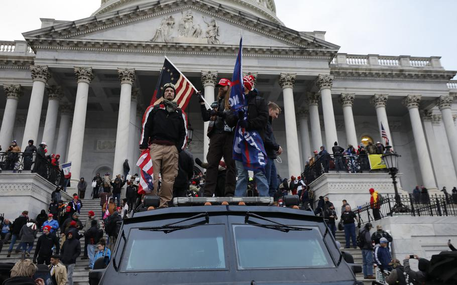 Supporters of President Donald Trump riot at the U.S. Capitol in Washington, D.C., on Wednesday, Jan. 6, 2021.