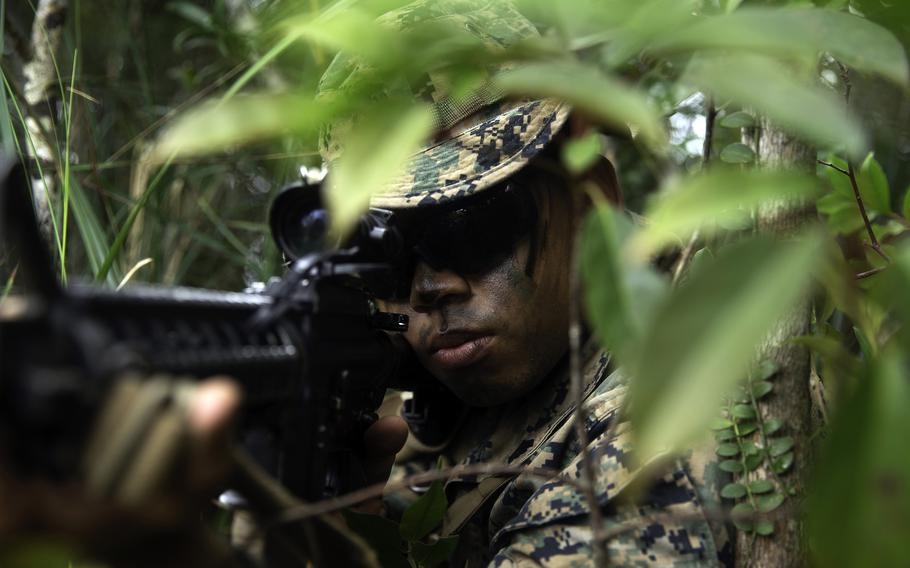 Cpl. Ray Pineda, a rifleman with 3rd Battalion, 3rd Marine Regiment, engages the enemy during a jungle warfare exercise at Okinawa's Northern Training Area, May 26, 2021.