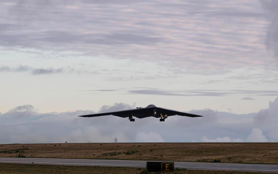 A B-2 Spirit assigned to Whiteman Air Force Base, Mo., departs from Keflavik Air Base, Iceland, on Sept. 11, 2021.