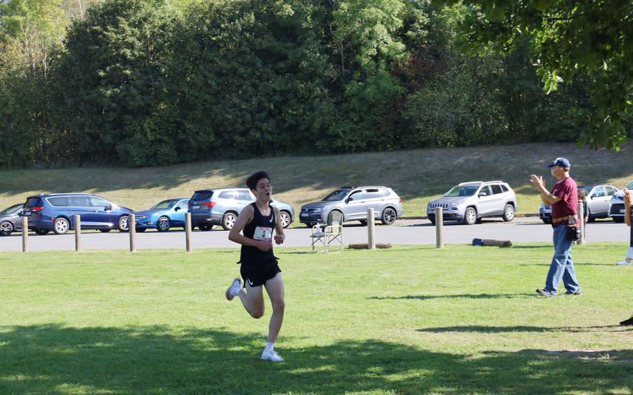 Stuttgart's Carter Lindsey finished first in the boys' race with a time of 16 minutes, 25 seconds at Vilseck, Germany, Saturday, Sept. 25, 2021.