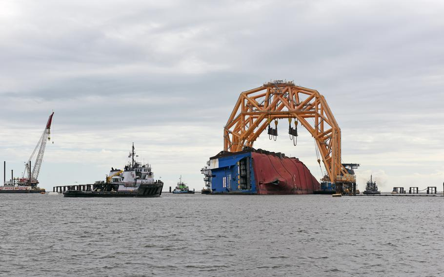 The heavy-lift vessel  at the Golden Ray wreck site on Oct. 27, 2020.