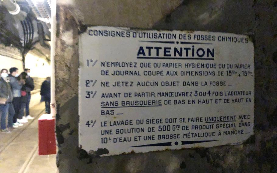 A sign in the Simserhof fortification in eastern France tells soldiers how to clean latrine seats, how to flush after using a latrine, and to use only toilet paper or newspaper cut into squares after using the facilities. Nearly 880 French soldiers spent months in the tunnel complex from the start of World War II in September 1939 until France fell to Nazi Germany in June 1940.