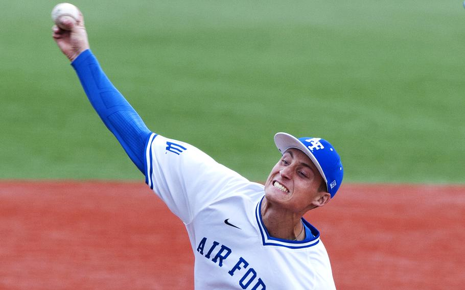 In a Apr. 9, 2016 photo, Air Force Academy junior Griffin Jax delivers a pitch in game one of a doubleheader against conference foe San Jose State at Falcon Field in Colorado Springs, Colo.,