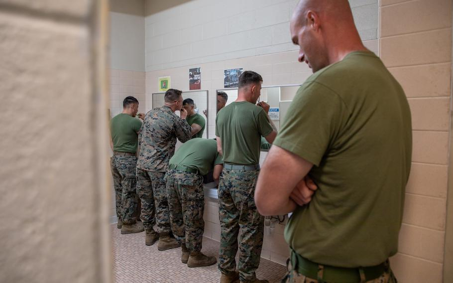 U.S. Marines get ready for the day in Texarkana, Texas, May 27, 2021.