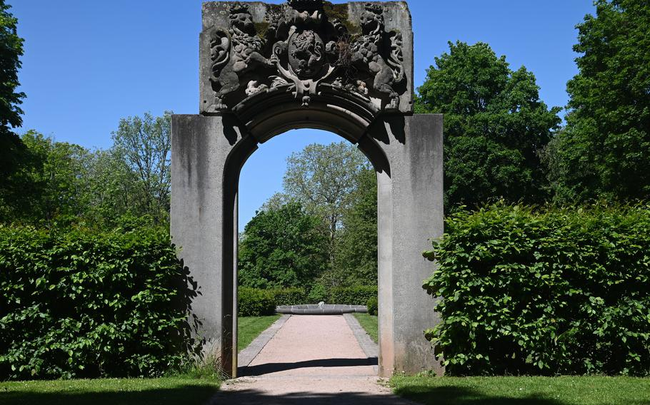 The former main entrance to the Palais at Rosenhoehe Park is all that remains of the palace building that was destroyed by Allied bombing in World War II.