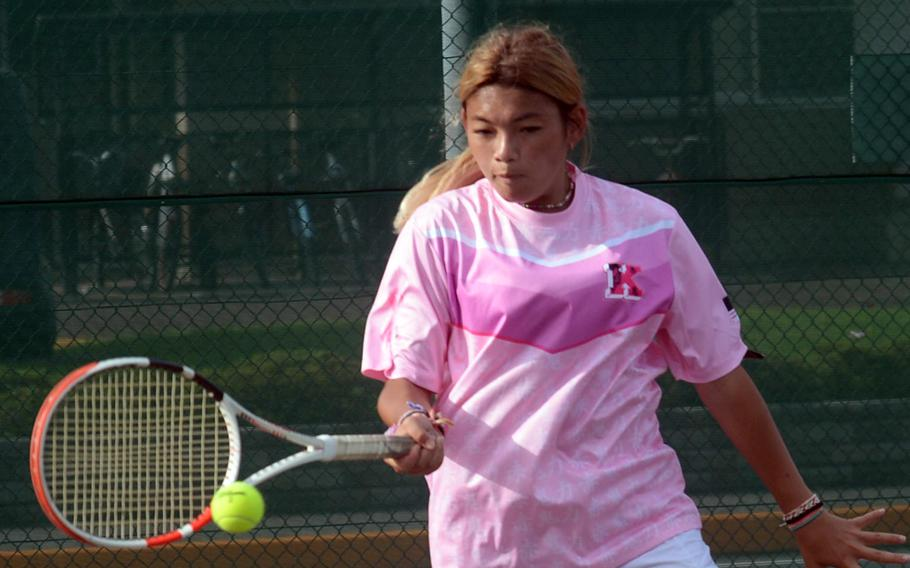 Qiana Fowler is one of three senior returners on Nile C. Kinnick's tennis team.