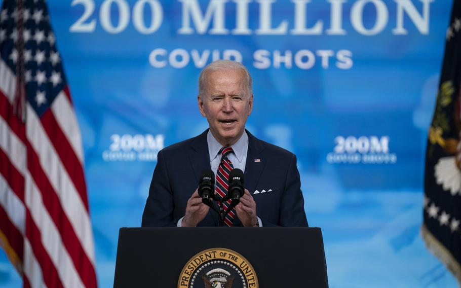 President Joe Biden speaks about COVID-19 vaccinations at the White House in Washington on April 21, 2021.