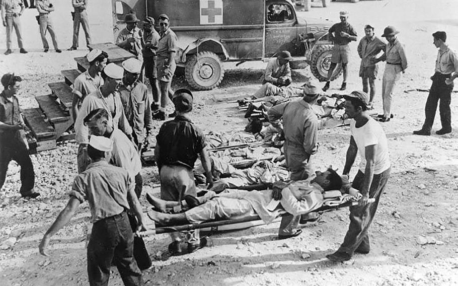 Survivors of the USS Indianapolis attack in Guam after being rescued in 1945.