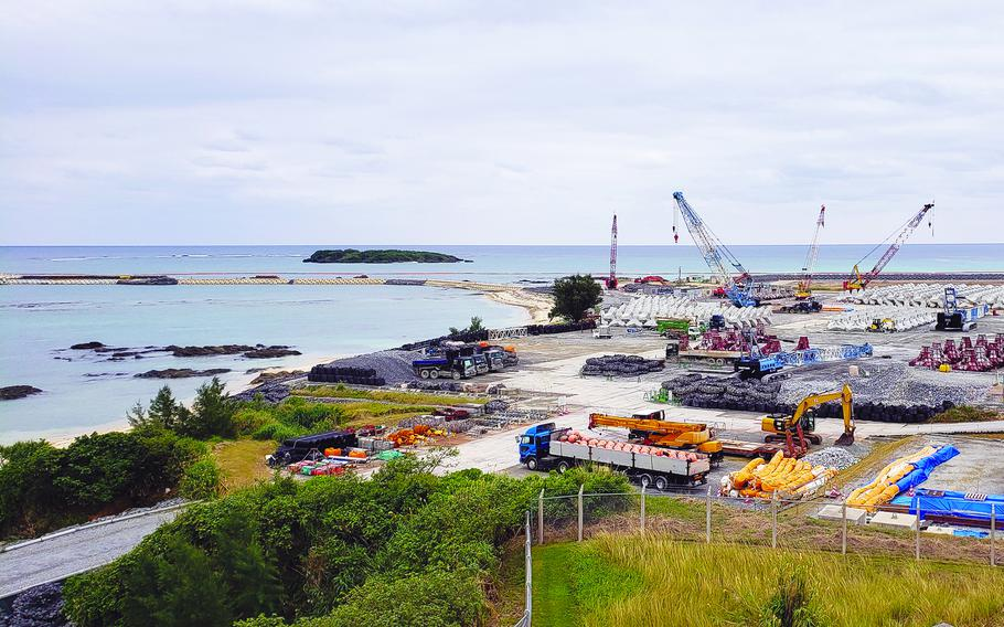 Landfill work for the construction of a Marine Corps runway at Camp Schwab, Okinawa, is seen in January 2020.