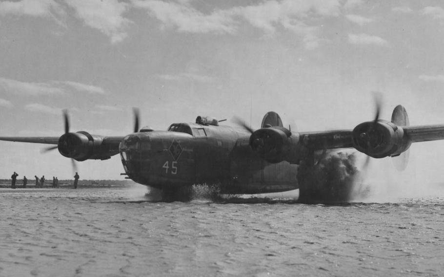 Fifteenth Air Force bombers flew from bases in southern Italy that flooded after heavy rains.