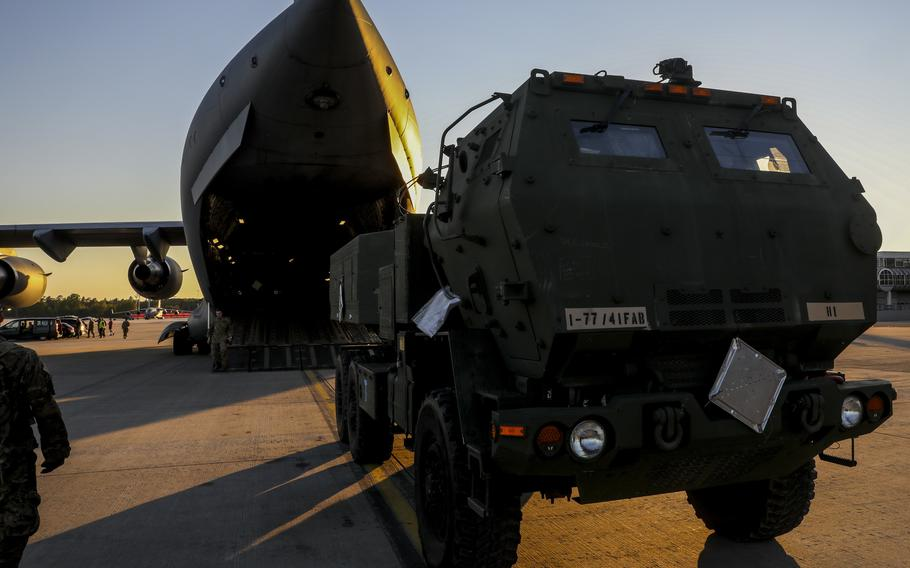 Vehicles belonging to Alpha Battery, 1st Battalion, 77th Field Artillery Regiment, 41st Field Artillery Brigade, are driven off a C-17 cargo plane at Ramstein Air Base, Germany, after conducting a live-fire exercise at Novo Selo, Bulgaria, June 1, 2021.
