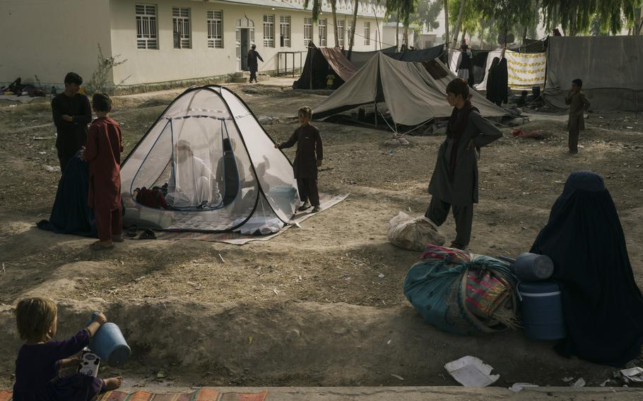Makeshift camps have sprung up to house civilians displaced by the fighting in Kandahar.