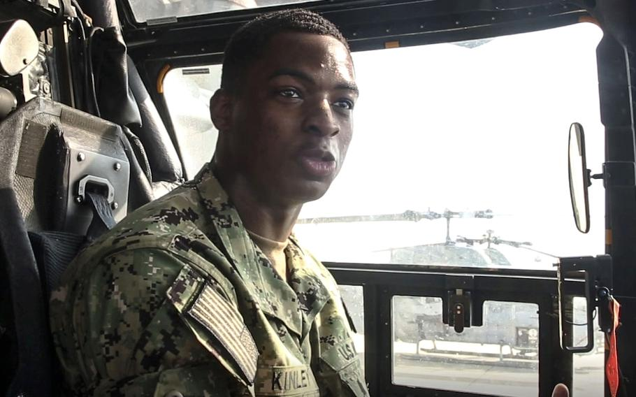 In a screen capture from a May, 2019 video, U.S, Naval Academy midshipman Cameron Kinley discusses his experience with Professional Training of Midshipmen on Marine Corps Air Station New River, N.C.
