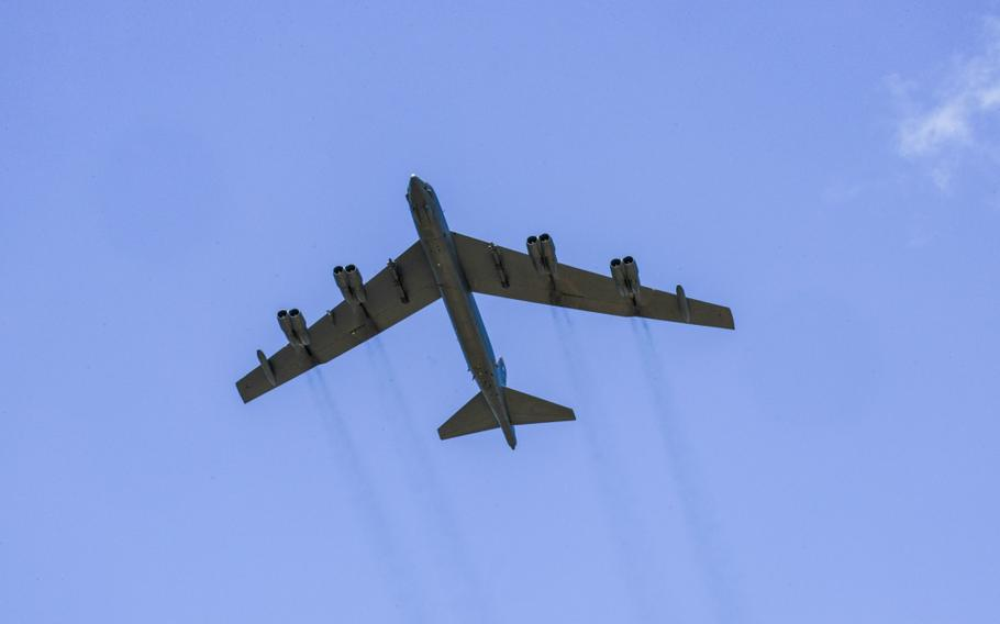A U.S. Air Force B-52 Stratofortress flies over Adazi Military Training Base, Latvia, June 13, 2016.