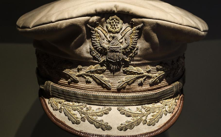 """This """"unofficial general officer's summer service cap"""" at the National Museum of the United States Army was bought by Gen. Douglas MacArthur from the Vanguard Insignia Co. of New York."""